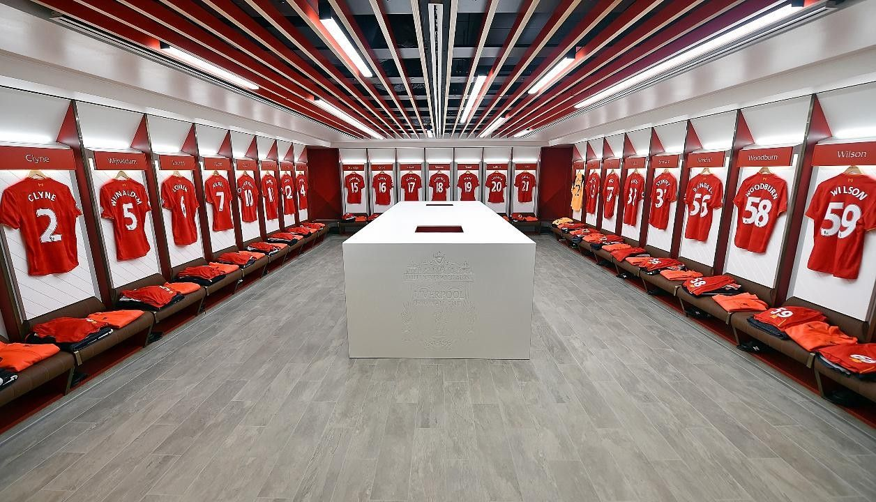 Anfield changing room liverpool changing room dressing