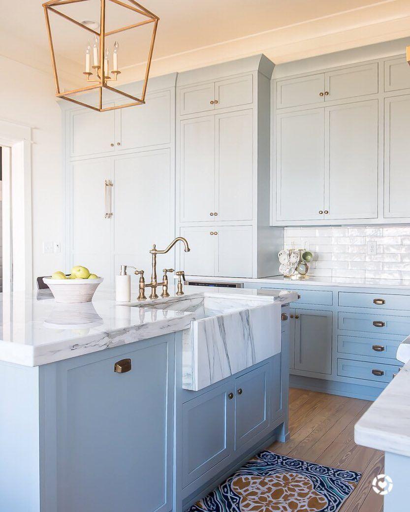Light Blue Paint Marble And Brass Kitchen Design Light Blue Kitchens Blue Kitchen Cabinets Blue Kitchen Designs