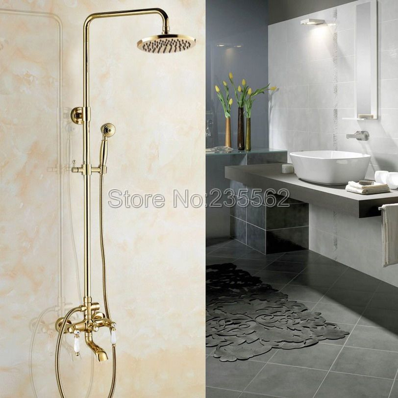 Golden Brass 8 inch Round Rainfall Bathroom Shower Faucet Set with ...