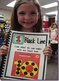 """After reading 10 Black Dots, students create a book called """"One Black Line"""""""