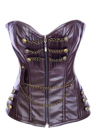 Brown Leather Steampunk Corset