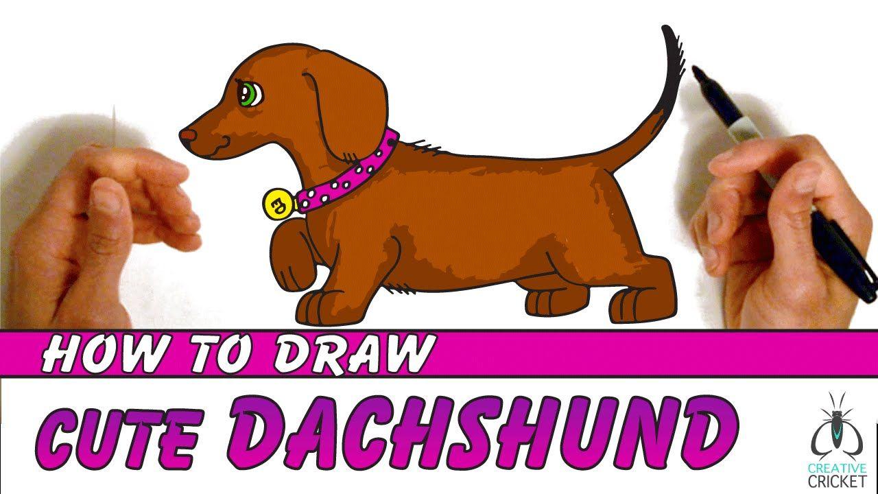 How To Draw A Cartoon Dog Step By Step Dachshund Puppy Easy