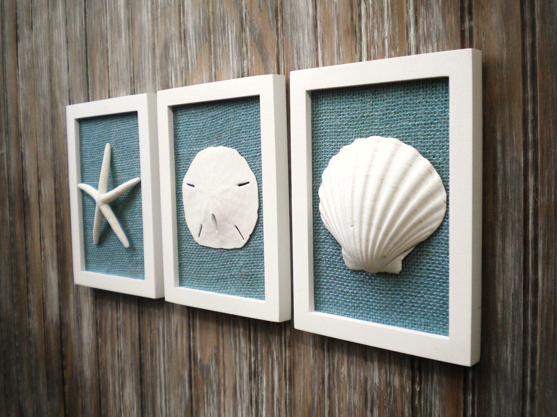 Cottage Chic Set Of Beach Wall Art, Sea Shells Home Decor