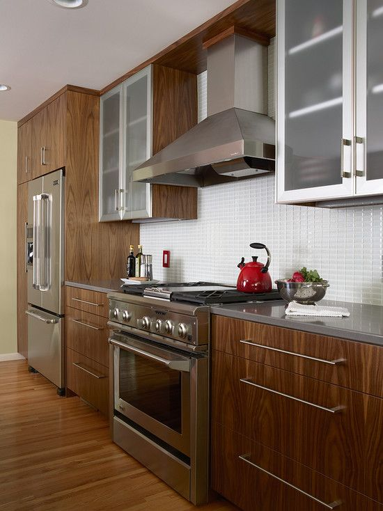 Walnut Kitchen Cabinets With White Countertops