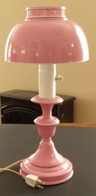 Vintage Pink Metal Table Lamp Light Retro Lamp Metal Table