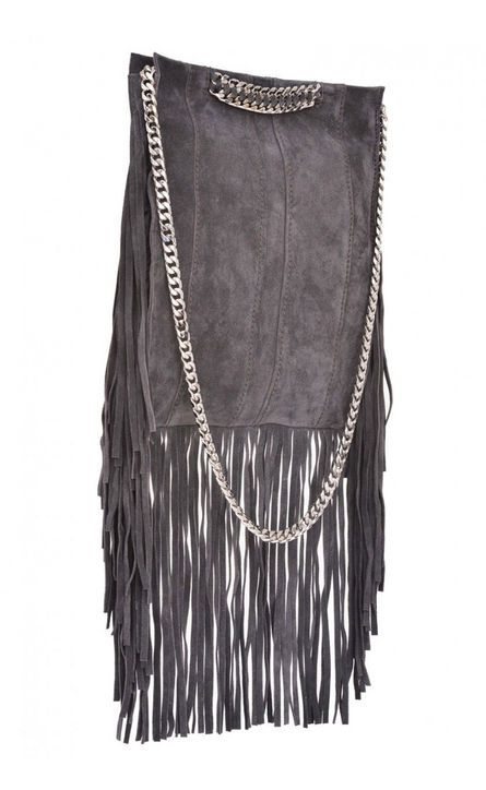 ramy brook gray suede fringe bag