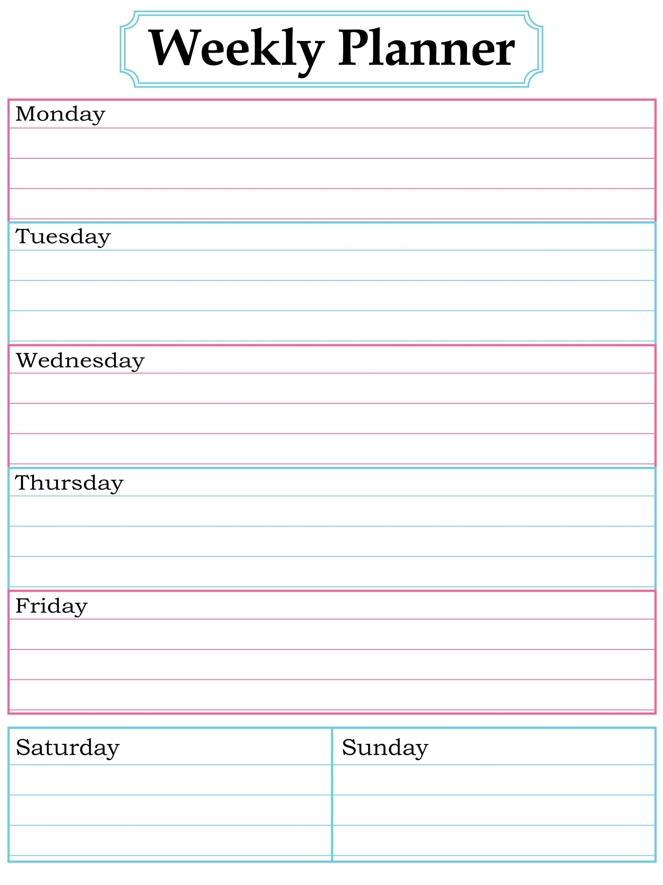 Weekly Planner Printable. Nice, Simple, Clean Lines. Homework Planner  PrintableFree Weekly Planner PrintableWeekly Calendar TemplateDay ...  Day To Day Planner Template Free