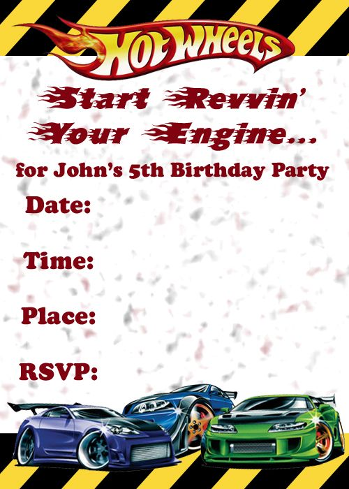 Cars Invitation Card Template Free: Hot Wheels Invitation Template Printable