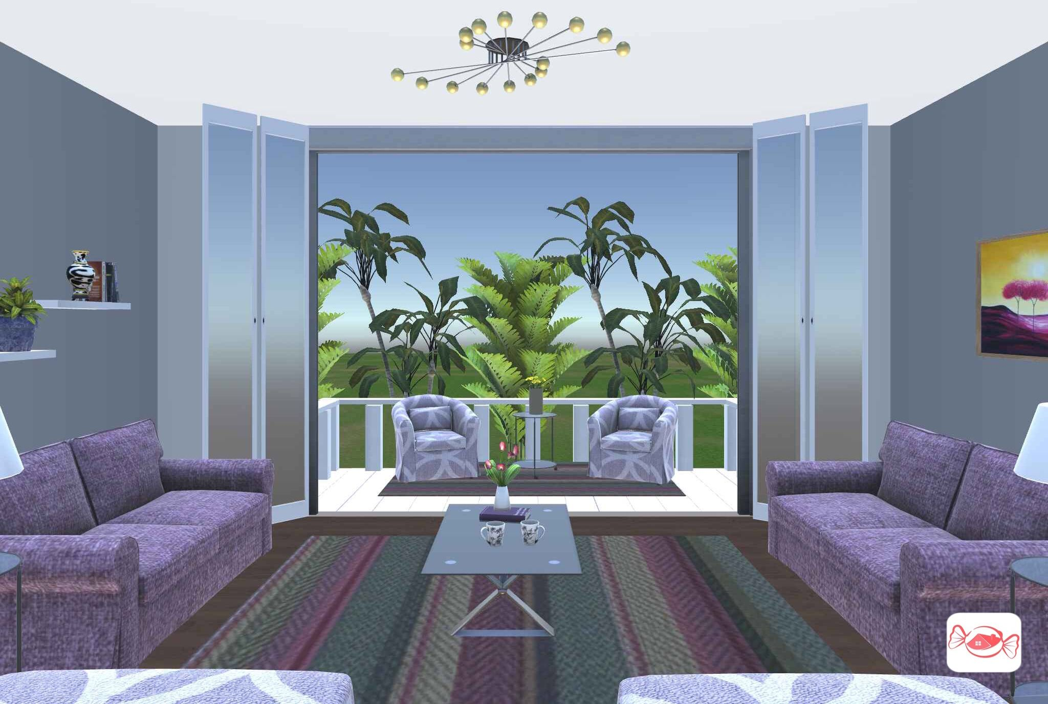 Indoor outdoor room created with home sweet home 3d app