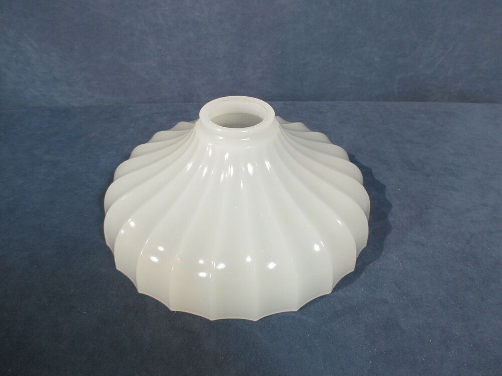 Light lamp shade milkglass fluted ribbed ceiling or table