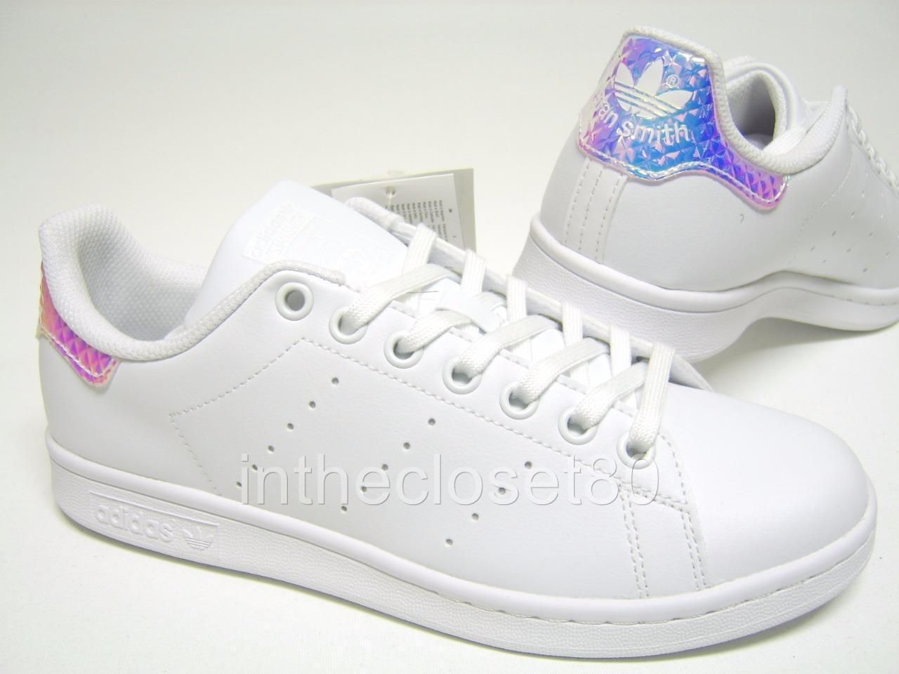 sports shoes 12732 424b9 Adidas Stan Smith Iridescent 3D GS White Shiny Silver Juniors Girls Women  CG2954   eBay