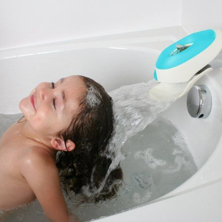 Boon Flo Water Deflector and Protective Faucet Cover with Bubble Bath Dispenser,Blue