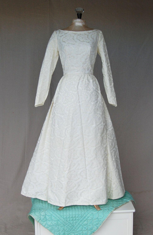 Ss cream baroque fabric wedding dress via etsy modest