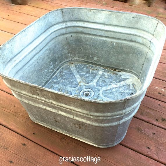 True Vintage Square Grey Galvanized Laundry Wash Tub With Drain Washing Laundry Wash Tubs True Vintage