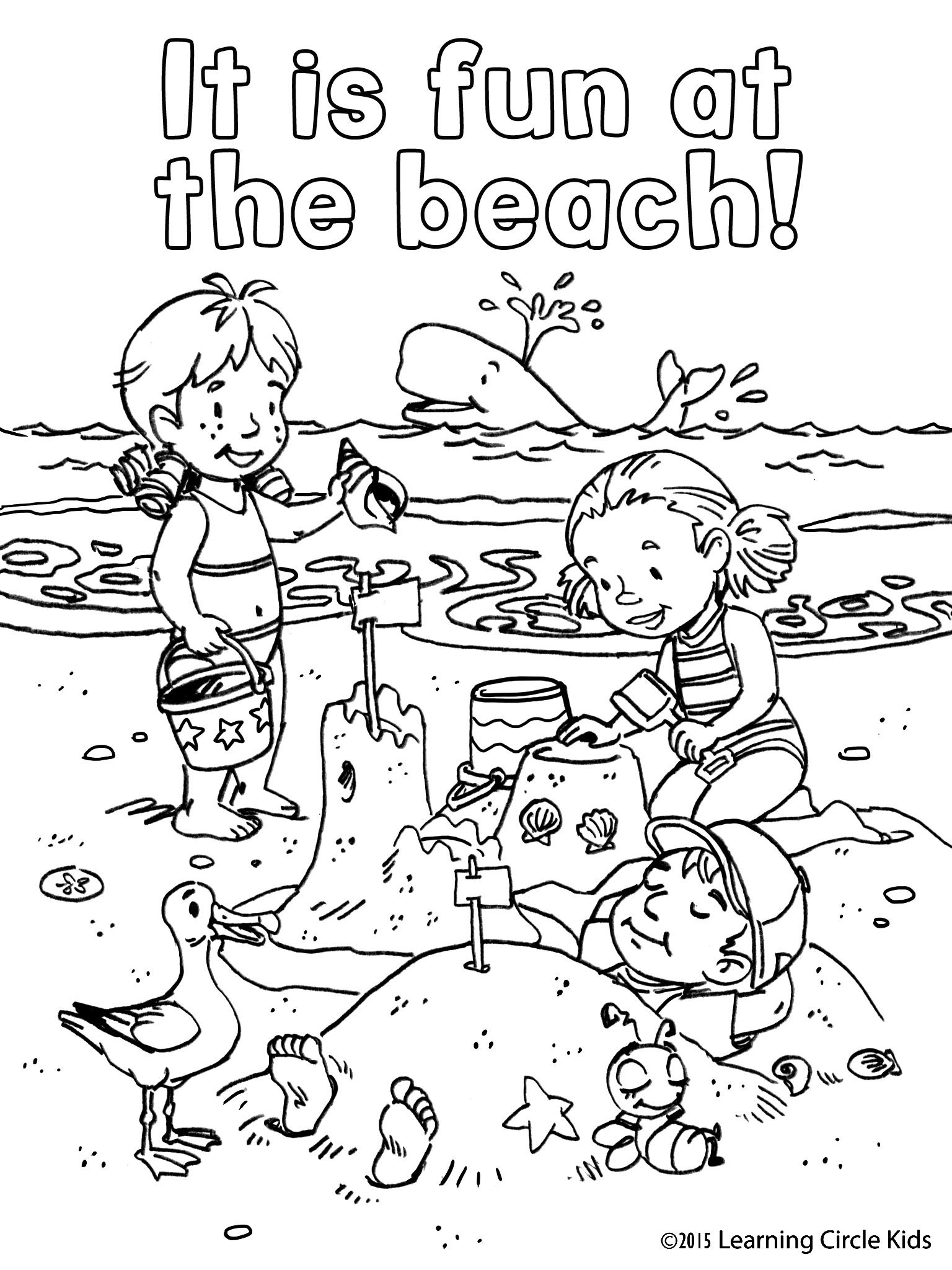 Free coloring page. Children's summer fun at the beach ...