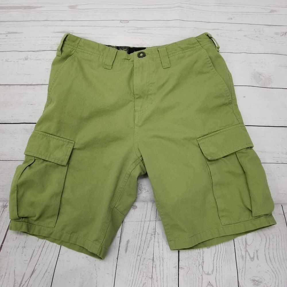 768b75215d Volcom Stone Scout Series 100 Cotton Olive Green Cargo Shorts Mens 30 20