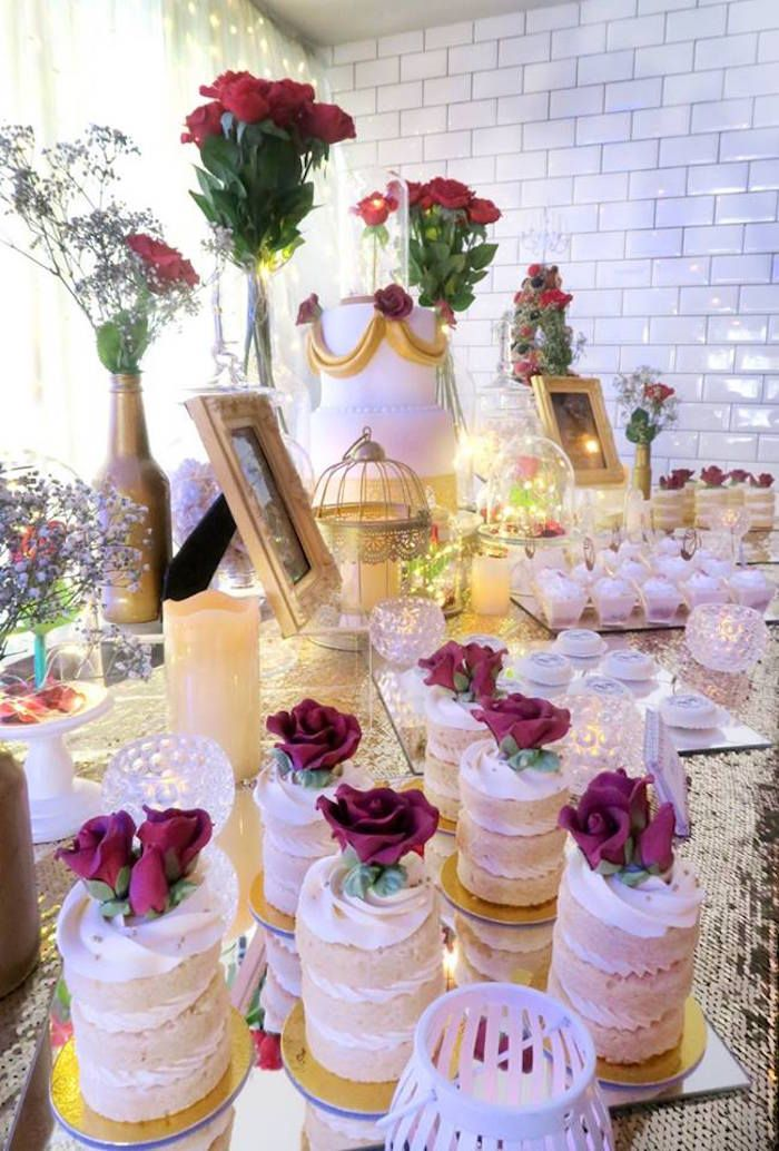 Beauty and the beast inspired wedding dessert table on for Beauty and beast table decorations