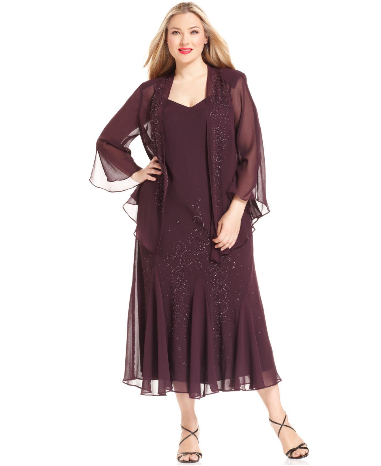 Rm Richards Plus Size Beaded V Neck Dress And Jacket Dress Online