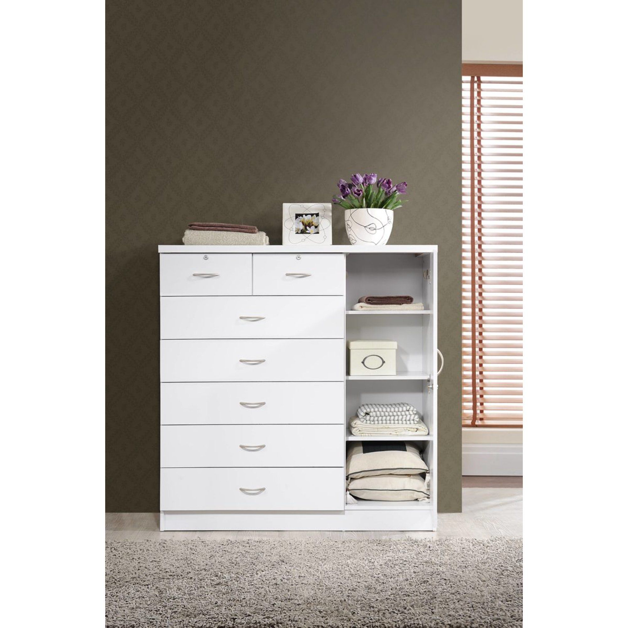 Hodedah 7 Drawer Dresser With Side Cabinet Equipped With 3 Shelves White Walmart Com In 2021 7 Drawer Dresser Dresser Drawers Side Cabinet [ 2000 x 2000 Pixel ]