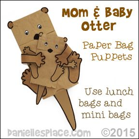 Mom And Otter Paper Bag Puppets Craft From Www