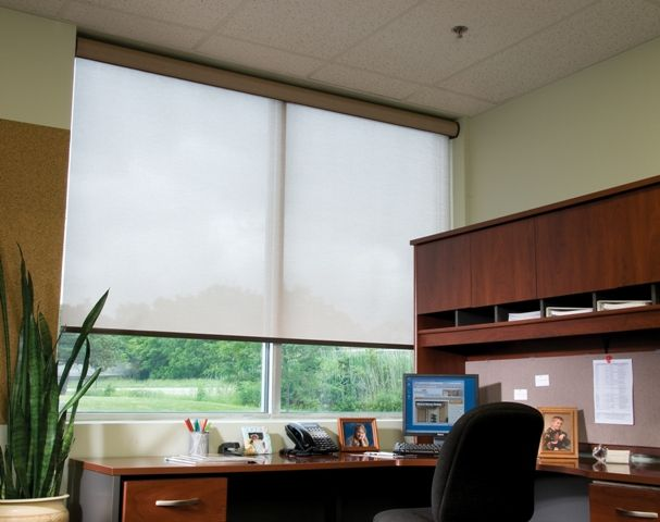 Home Office With Beautiful View And Large Windows Motorized White Roller Shades With Cassette Valance