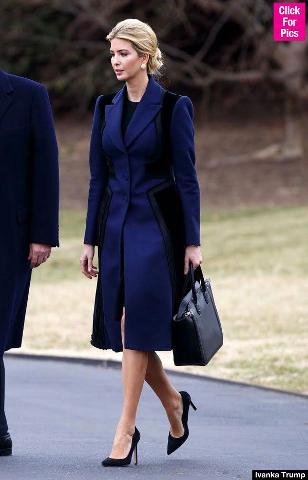 Ivanka Trump Boards Marine One In Stunning Black & Blue Coat — See Pics