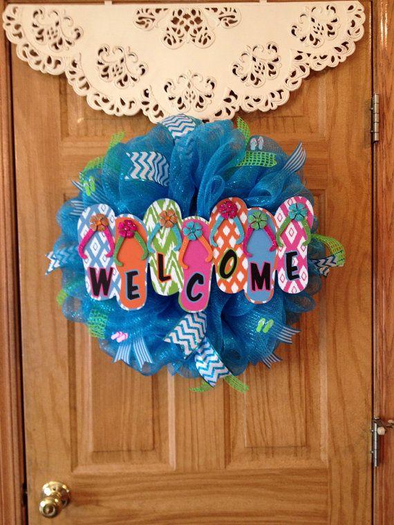 e10c512d88fe6 Flip Flop Welcome Mesh Wreath on Etsy