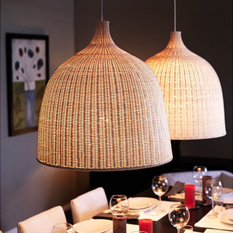 Ikea Modern America Country Cage Rattan Pendant Light Wicker Bird Nest Luminaire E27 Bamboo Lamp Shades