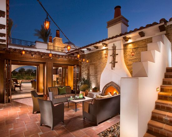 Luxurious Traditional Spanish House Designs Amazing Classic Patio With Fireplace Revival Andalusia Architecture