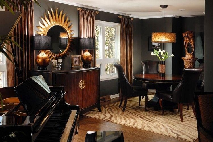 Farbkombination Braun Schwarz Goldene Akzente Gold Esszimmer Speisezimmereinrichtung Wohnzimmer Dekor