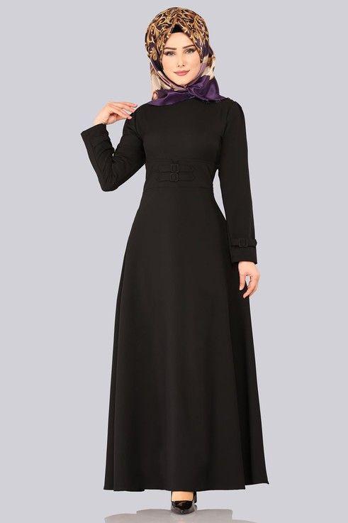 df3431beb53d2 Modaselvim ELBİSE Aksesuar Kemerli Tesettür Elbise 1012BGS354 Siyah ...