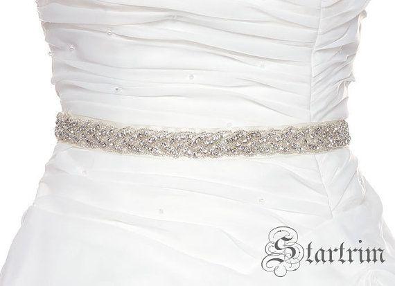 SALE Sharon Wedding bridal  rhinestone beaded bridal sash belt