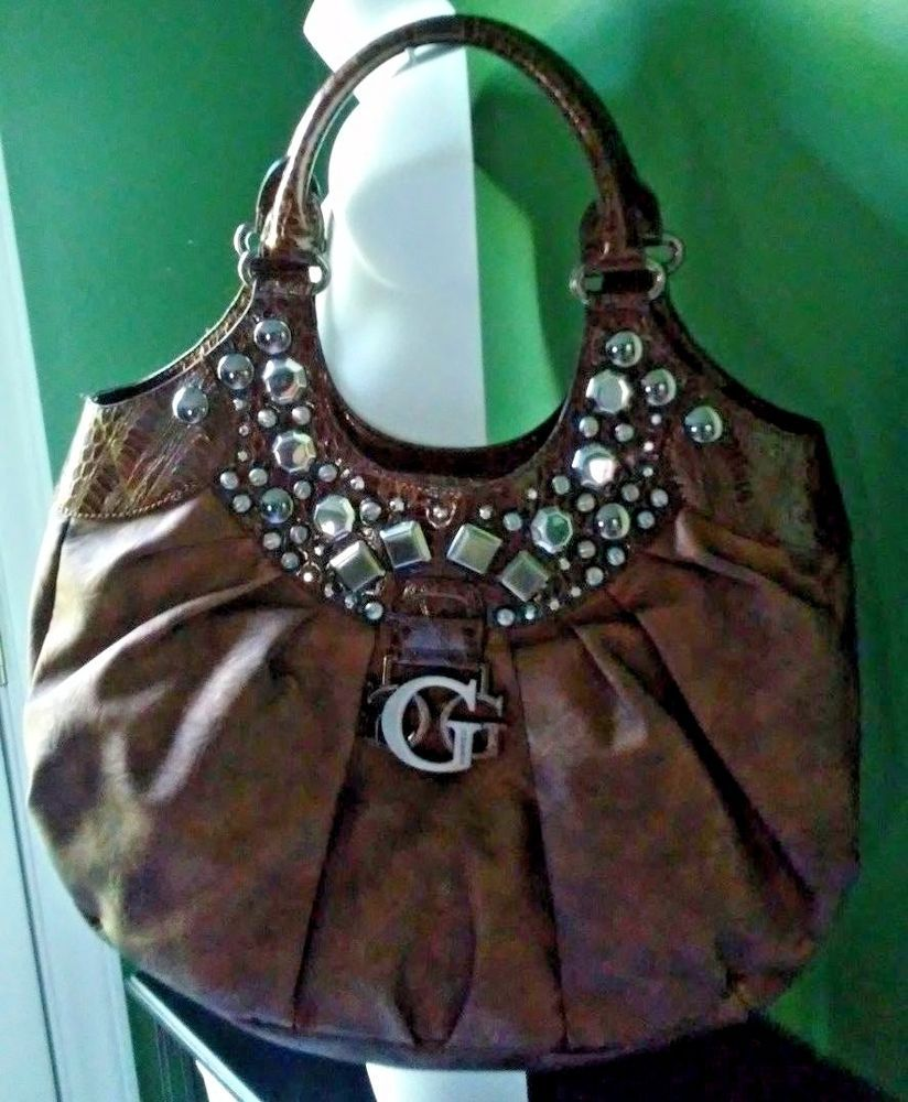 bcd6ee2bad Extra Large Authentic Glamour GUESS Handbag Purse Bronze Studded EUC   11119619  GUESS  TotesShoppers
