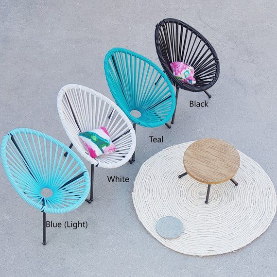 Mini Acapulco Replica Chair 1:12 Dollhouse Collectable Modern Outdoor Miniature Designer Furniture Dollshouse One Inch Blue Black Pink White #barbiefurniture
