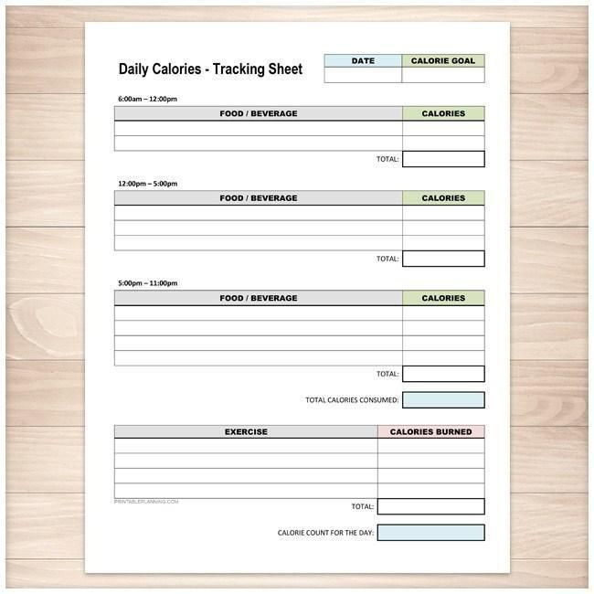 Daily Calories And Exercise Tracking Sheet  Printable At Printable
