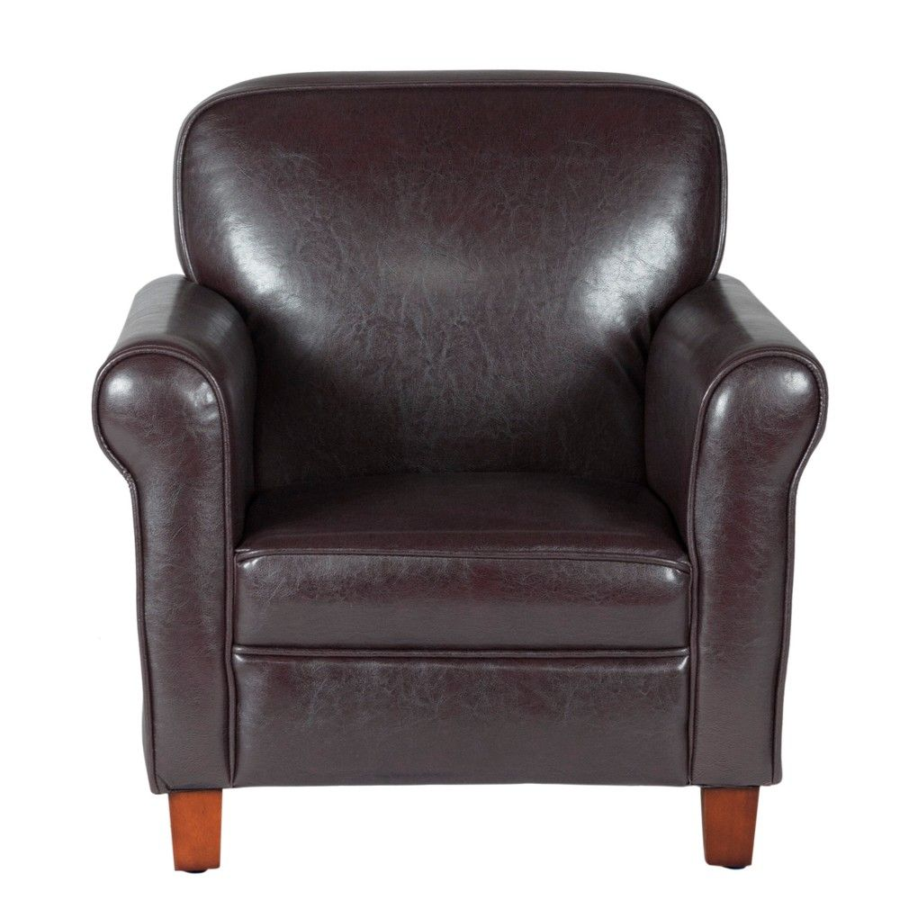 Kids Faux Leather Accent Chair With Rolled Arms Brown Homepop Target Leather Accent Chair Leather Armchair Homepop