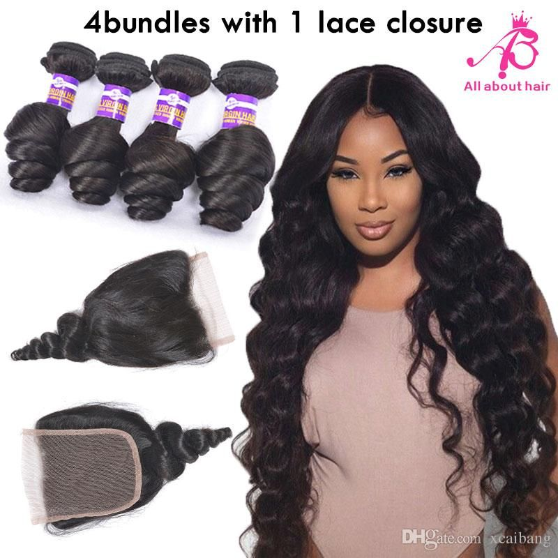 8a brazilian loose wave 4 bundles with lace closure raw