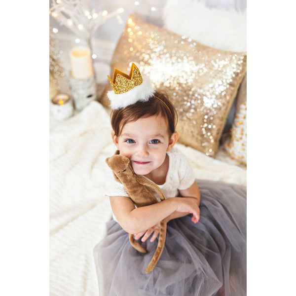 Gold Glitter Winter Wonderland White Fur Photo Prop Christmas Day... ($25) ❤ liked on Polyvore featuring accessories, hair accessories, grey, headbands & turbans, elastic headbands, birthday crown, gold hair accessories, gold crown headband and crown headband