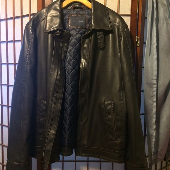 SALE!! Tommy Hilfiger faux leather jacket Tommy Hilfiger MENS black faux leather jacket. Selling for my BF. Tommy Hilfiger Jackets & Coats