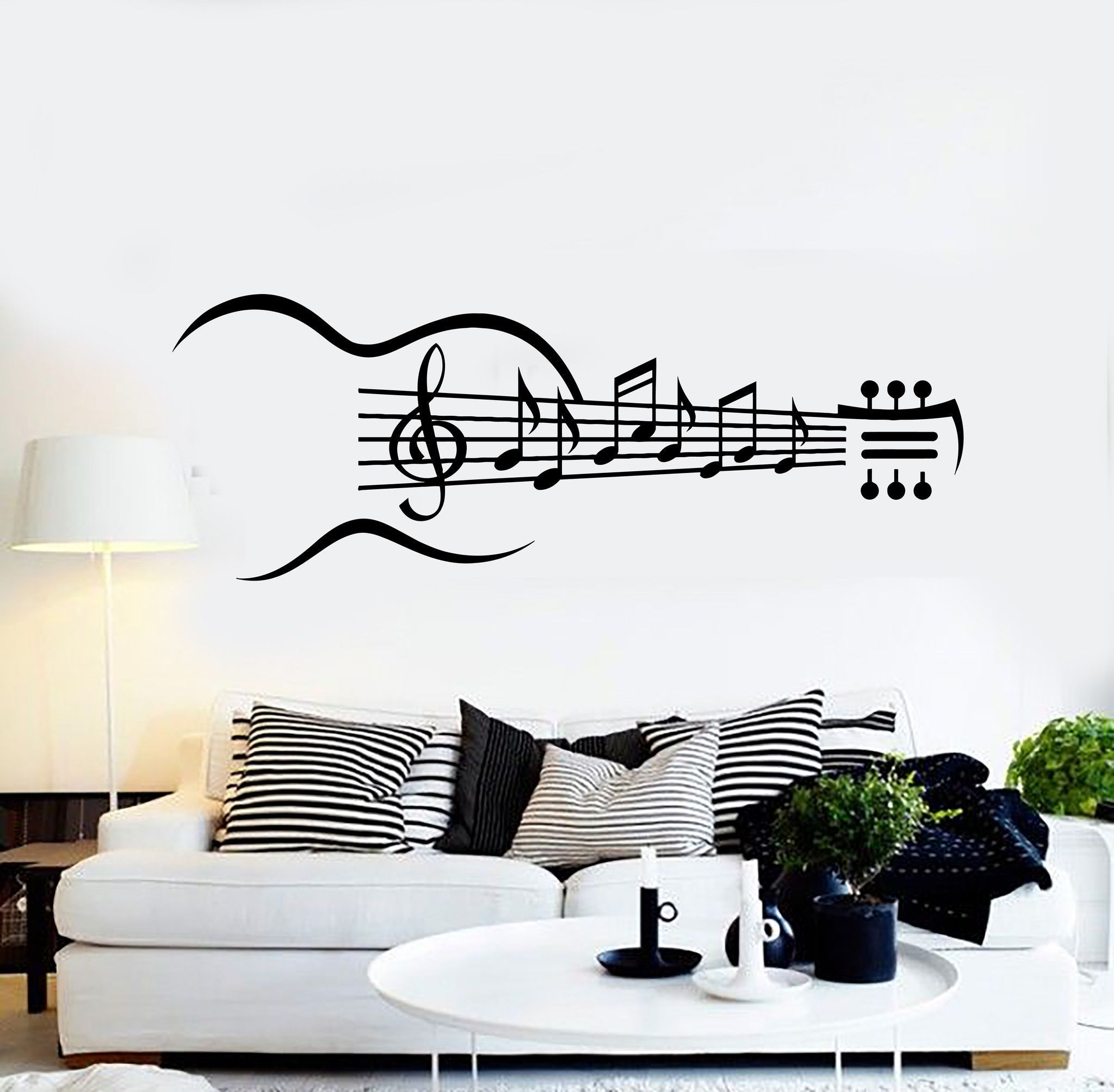 Vinyl Wall Decal Guitar Musical Instrument Music Notes Stickers Ig4353 Nurserystickers Music Room Decor Music Wall Decor Music Wall Decal
