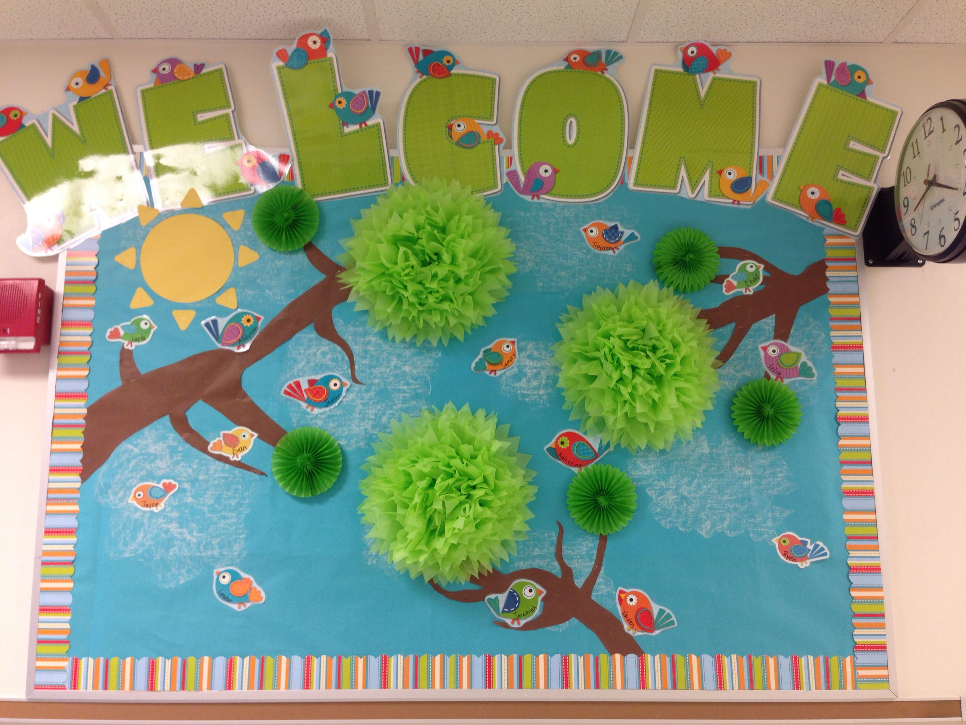 My BoHo Bird bulletin board to welcome students and ...