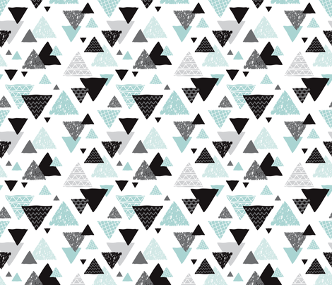 96bcbf9c597d7 Geometric triangle aztec illustration hand drawn pattern mint blue fabric -  surface design by Little Smilemakers Studio on Spoonflower - custom fabric  and ...