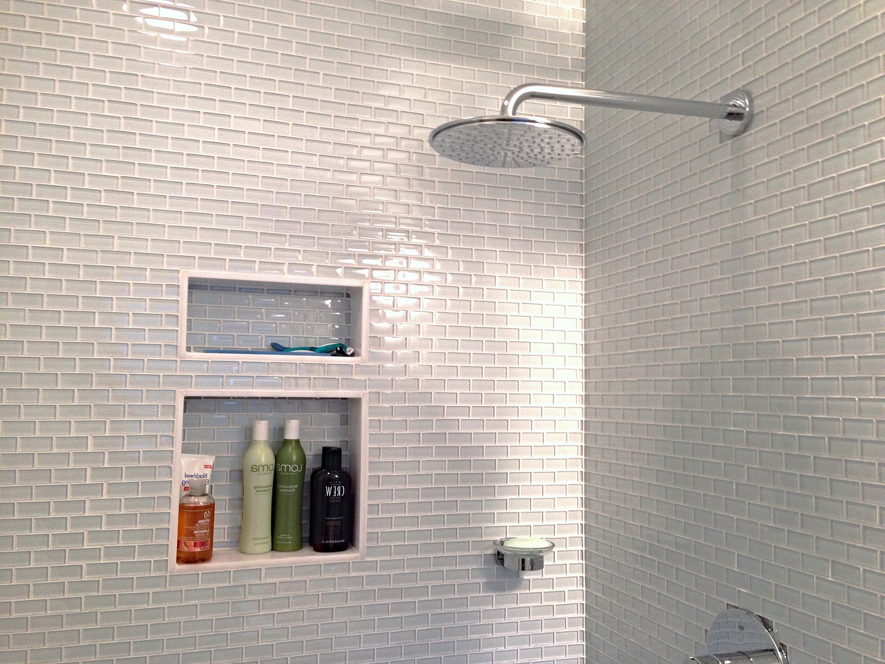 permalink to charming white glass mini subway tile shower walls image ideas in bathroom design
