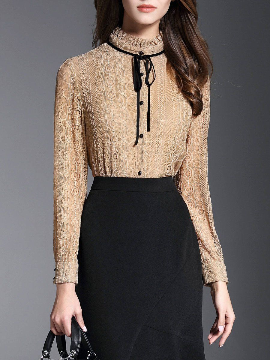 #AdoreWe #StyleWe Designer Blouses - Designer GOEASTRY Apricot Lace H-line Long Sleeve Ruffled Collar Blouse - AdoreWe.com