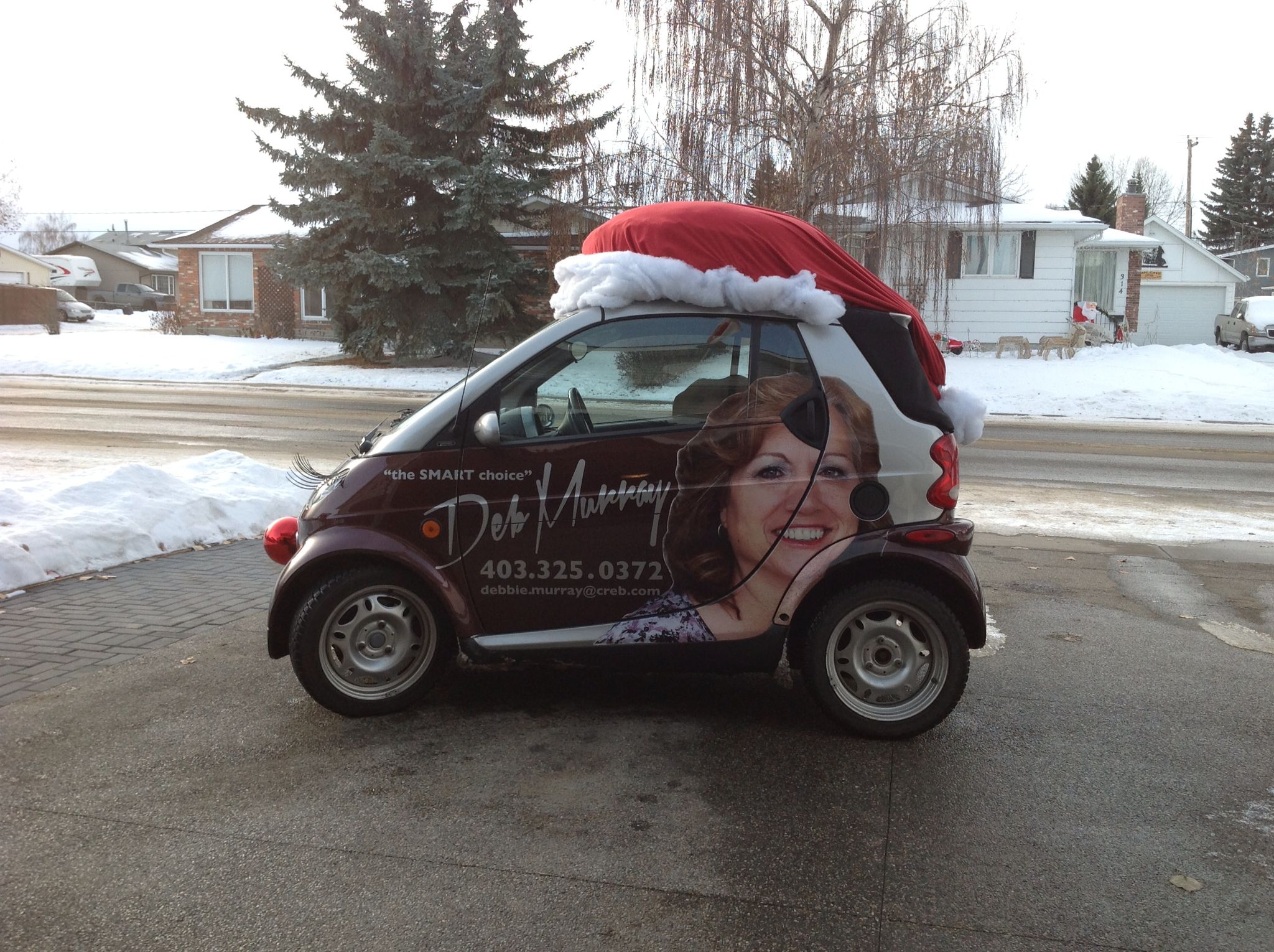 d9e6bea4b7740 Santa hat on my Smart car