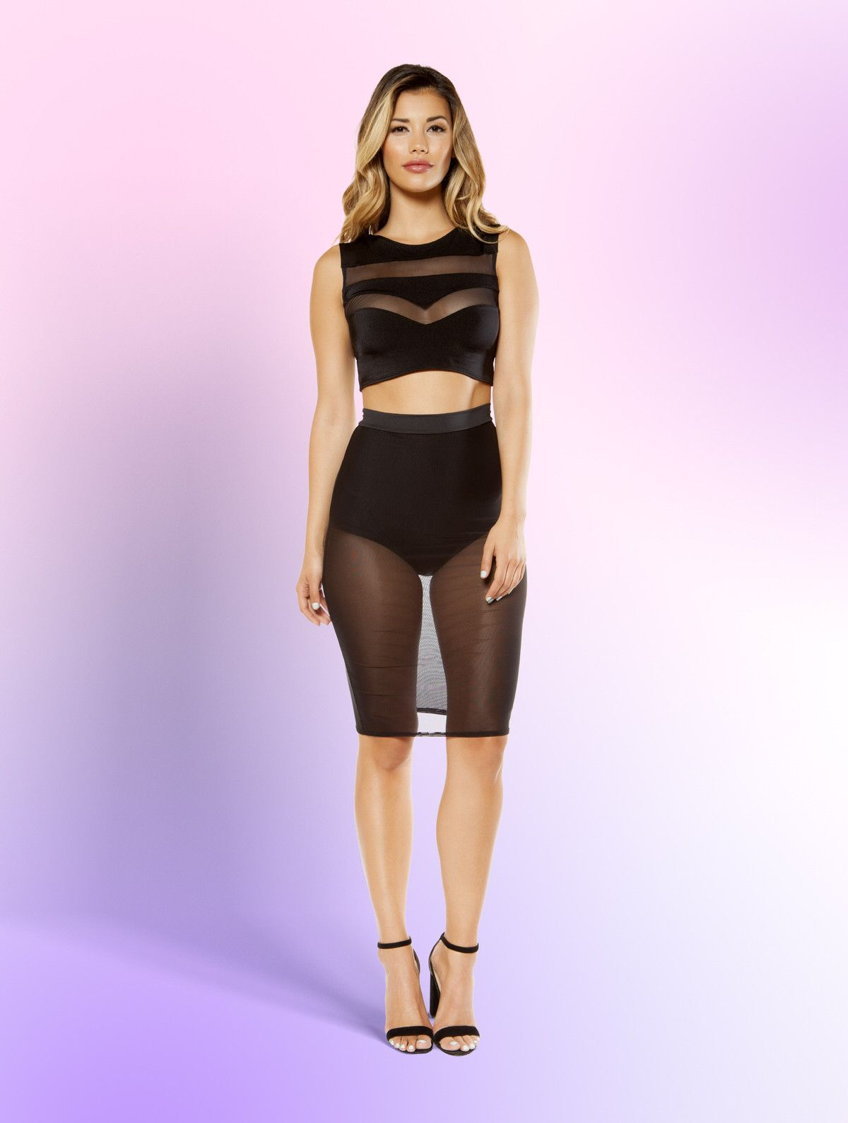 Sheer Mesh Skirt with Attached Underlay High-Waisted Shorts ...
