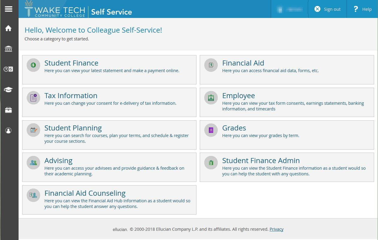 Use this tool to register for courses, download tax