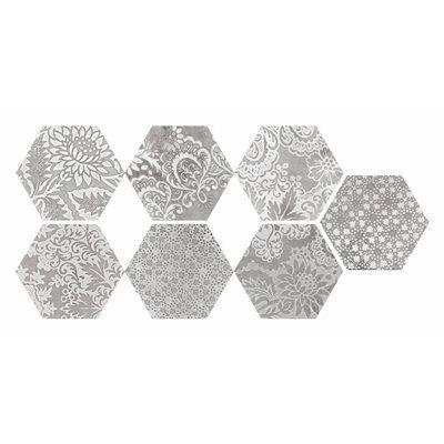 Faber Moroccan 10 In X 12 Decorative Silver Hexagon