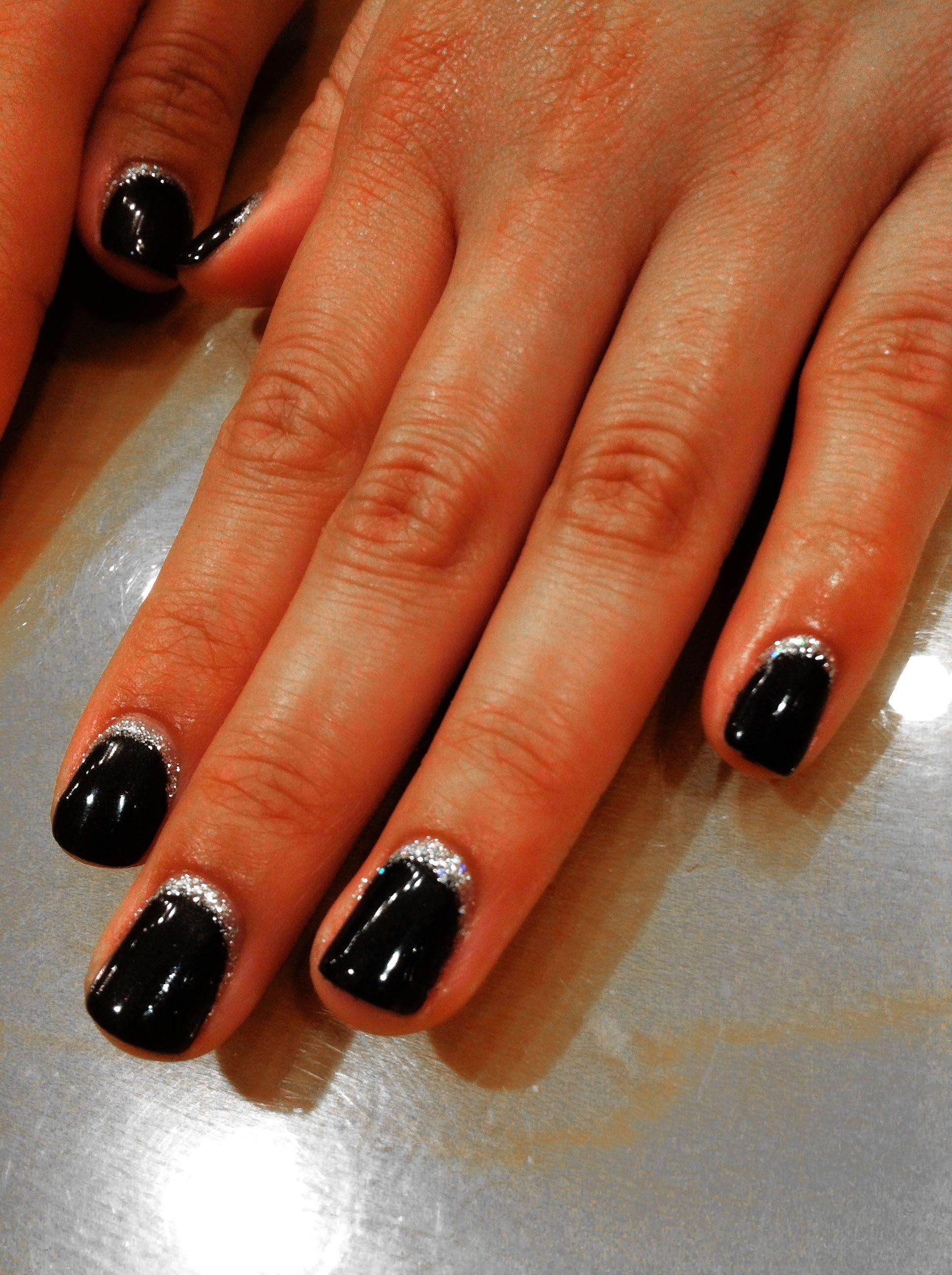 Spring Nails Saratoga - Black onyx shellec polish with gellish glitter along the cuticles