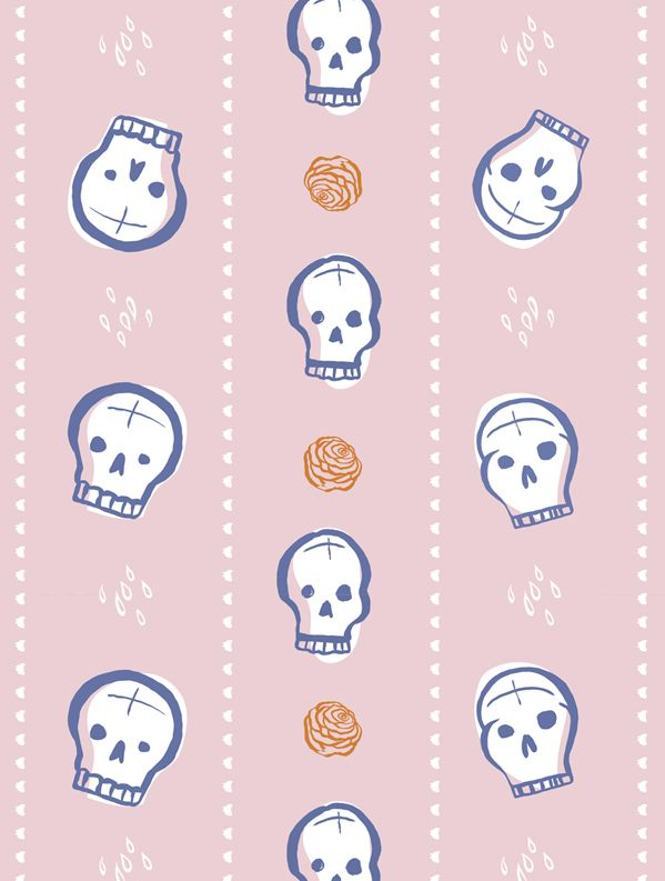 """Skulls & Roses"" Pattern Design by Pupa Pupapop, via Behance"